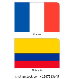 Flags of France and Colombia