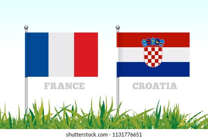 Flags of France and Croatia against the backdrop of grass football stadium. Vector