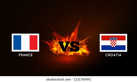 Flags of France and Croatia against the VS symbol and fire. Vector