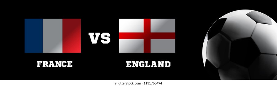 Flags of France and England with the football ball. Vector