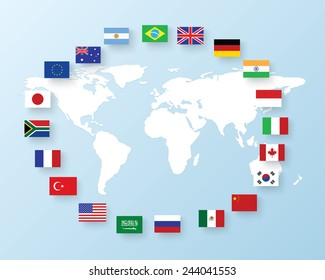flags of the G20. The Group of Twenty flags