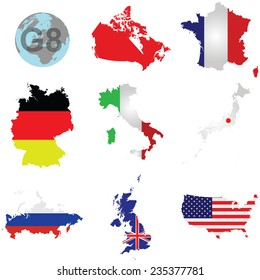Flags of the G8 member countries overlaid on outline map isolated on white background Canada shown solid colour due to copyright restrictions