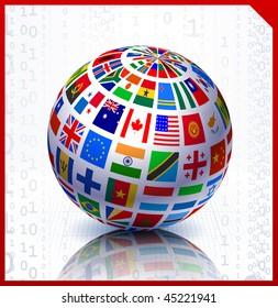 Flags Globe on Binary Code Background Original Vector Illustration
