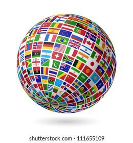 Flags globe. Vector.