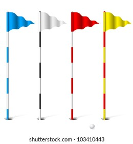 Flags of the golf course. Illustration on white background.
