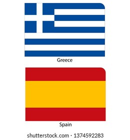 Flags of Greece and Spain