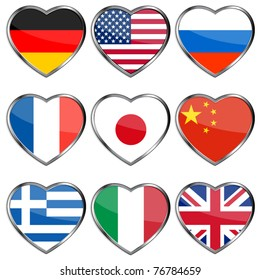 Flags in heart shapes, eps10 illustration
