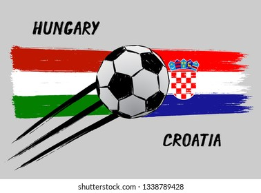 Flags of Hungary and Croatia -  Icon for euro football championship qualify - Grunge