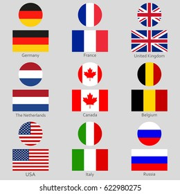 Flags icon set. National symbol of USA, UK, Holland, the Netherlands, Germany, Italy, Canada, France, Russia and Belgium. Vector illustration.
