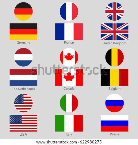 Flags Icon Set National Symbol Usa