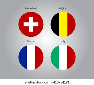 Flags icon set. Switzerland, Belgium, France, Italy.