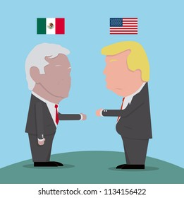 Flags and icons of Presidents of Mexico and the United States
