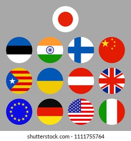 Flags icons set. Vector illustration.