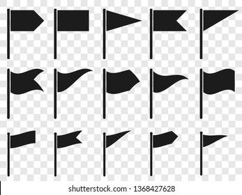 Flags icons. Set of vector symbols. Pointers for maps denoting waypoints, start or finish. Various forms of flags - straight and waving, rectangular and angular. Collection of blank black banners.