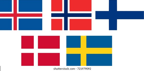 flags and language icons flags of Scandinavia - isolated vector illustration
