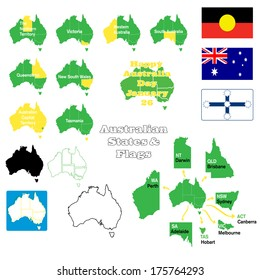 Flags, maps and states of Australia with capital cities and maps in outline and state outline versions