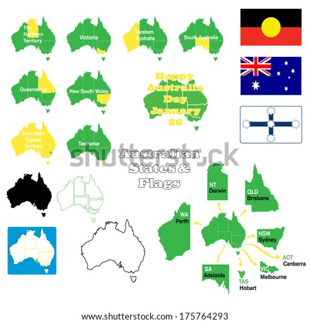 Map Of Australia And Capital Cities.Flags Maps States Australia Capital Cities Stock Vector Royalty
