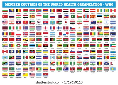 Flags of Member countries of the World Health Organization (WHO). World flag collection