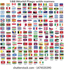 Flags with names illustrator vector file