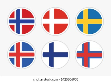 Flags of Northern Europe, Scandinavia, Set of vector round icon illustration on white background. National flags of Norway, Denmark, Sweden, Iceland, Finland, Faroe islands