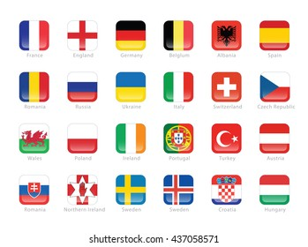 Flags of participating countries to the final soccer tournament in France.