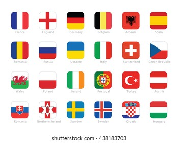 Flags of participating countries to the final soccer tournament of 2016 in France.