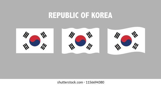 Flags of the Republic of Korea, south korean waving symbols