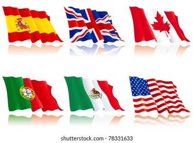 Flags set 1. USA, America, Spain, Canada, Portugal, Great Britain and Mexico