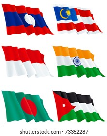 Flags Set 10.  Jordanian, Bangladesh, Indian, Indonesian, Malaysia, Laos flags. There are no meshes in this images.