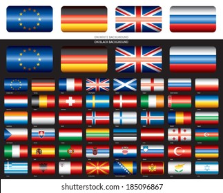 Flags set on black background. Europe 48 flags