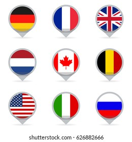 Flags set in shape of map pointers or markers.  Flags of the different countries of the world: USA, UK, Holland, Germany, Italy, Canada, France, Russia and Belgium. Vector illustration.