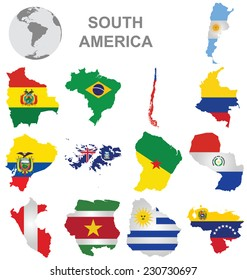 Flags of South America collection overlaid on outline map isolated on white background