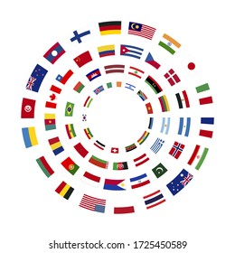 A lot of flags of sovereign states arranged in four circles isolated on a white background