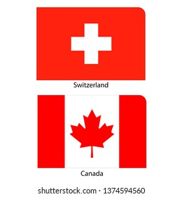 Flags of Switzerland and Canada
