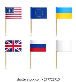 Flags toothpick. American, Europen union, United Kingdom, Ukraine,  Russian, White flags