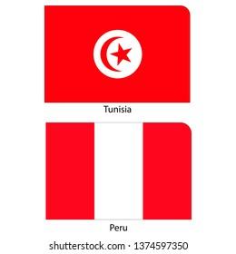 Flags of Tunisia and Peru