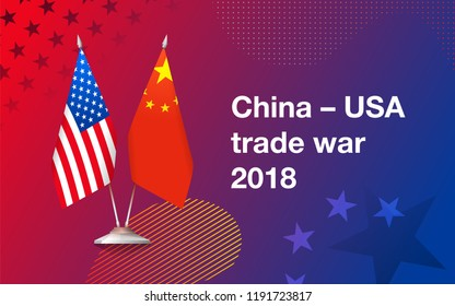 Flags of United States of America and China on a fashionable gradient background. Concept of trade war between China and USA. Vector illustration