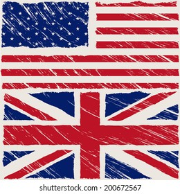 the flags of united states of america and united kingdom with some grunge textures
