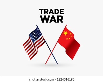 Flags of USA and China Trade War background. Vector illustration