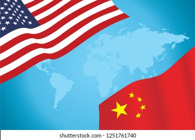 Flags of USA and China Vector
