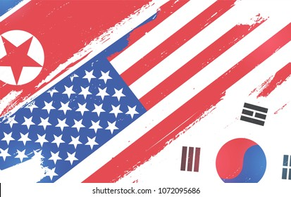 Flags of USA, South Korea and North Korea isolated on white background. Vector illustration