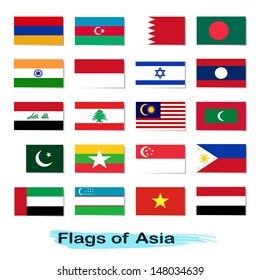Flags vector of Asia