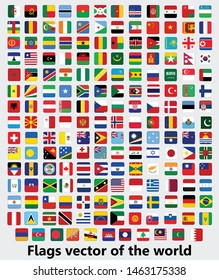 Flags vector of the world, square design