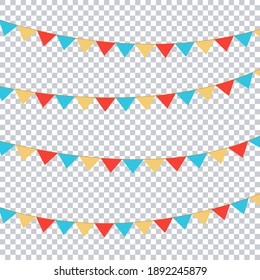 Flags vector for your party, birthday design, transparent background