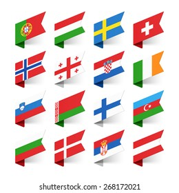 Flags of the World, Europe, set 2 vector illustration