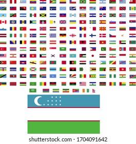 flags of the world. world flag vector illustration. rectangle design. square design. sample image Uzbekistan