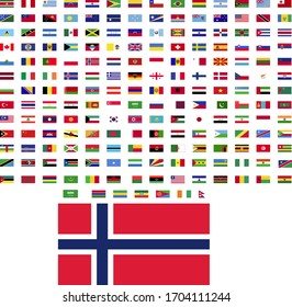 flags of the world. world flag vector illustration. rectangle design. square design. sample image Norway