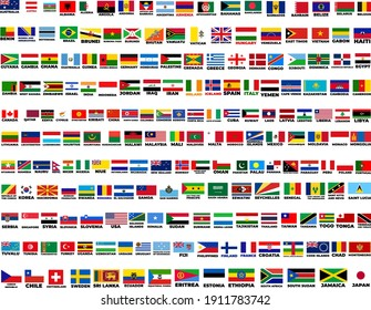 flags of the world. world flag vector illustration. rectangle design. square design. Vector illustration stock set