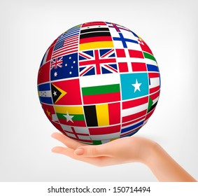 International flags stock illustrations images vectors shutterstock flags of the world in globe and hand vector illustration freerunsca Image collections