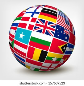 Flags globe images stock photos vectors shutterstock flags of the world in globe vector illustration freerunsca Image collections